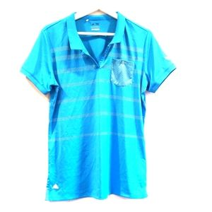 Adidas Women Size L Blue Short Sleeves Golf Shir